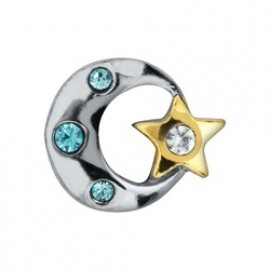 Floating locket - charm Moon & Star