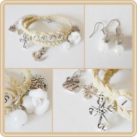 Set: Wikkelarmband met naam & oorbellen