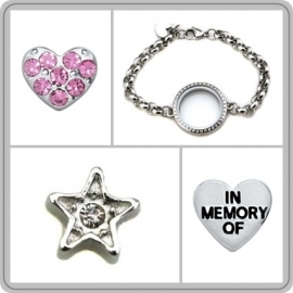 """Floating locket - armband """"In memory of"""""""