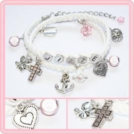 Communie armband Geloof, Hoop & Liefde - met naam