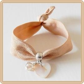 Elastieken armband - beige