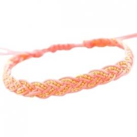 Arrmbandje ball chain gevlochten - roze/peach