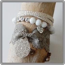 Mama armband set Romantic Lace – met 1 naam
