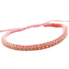 Armbandje strass - roze/peach