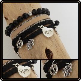 Mama armband set - Black & Beige