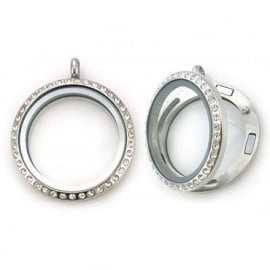Floating locket medaillon - kristal