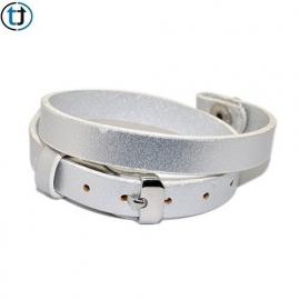 Leren armband voor floating locket - zilver