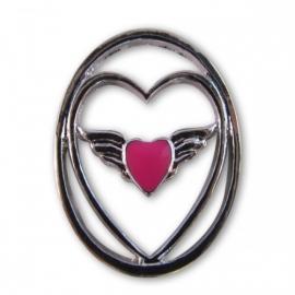 Floating window plate - Wings hartje pink