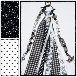 Naamsleutelhanger Black & White - 2 namen