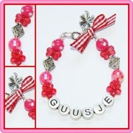 Naamarmbandje Pink/Red