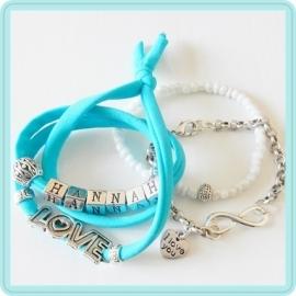 Mama armband set Aqua & White – met 1 naam