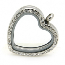 Floating locket medaillon - hart kristal