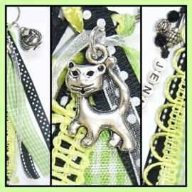 Naamsleutelhanger Black & Lime - 1 naam