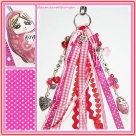 Naamsleutelhanger Pink & Red - 2 namen