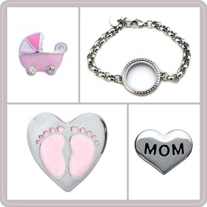 """Floating locket - armband - """"Mom to be"""""""