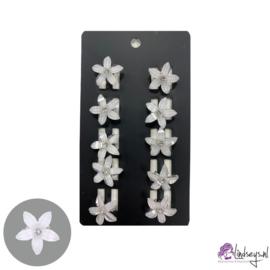 Haarclipje bloem wit - 10 stuks