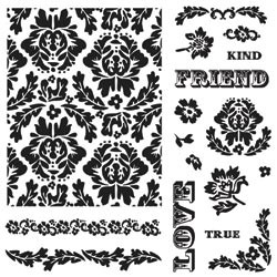 "Fiskars Background Clears Stamps 8""X8 Bold Flowers  AKTIE!!!!!!"