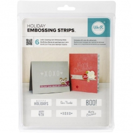 "We R Phrase Strips Embossing Folders 6""X2"" 6/Pkg Holiday R662597"