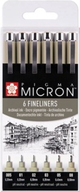 pigma Micron fineliners set van 6 PO(XSDK-6)