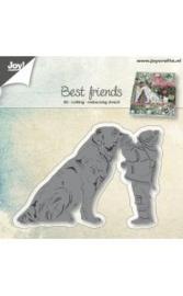 snij-embos-debosstencil-hond met kind 6002/0947