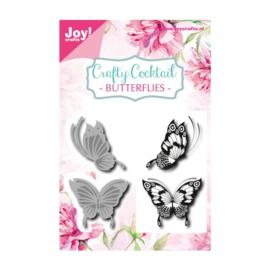 Joy!Crafts snij- embosstencil + stempel vlinders  Artikelnummer: 6004-0014
