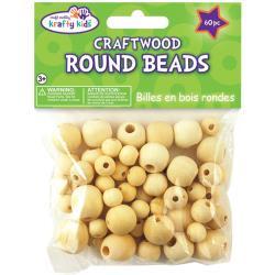 craftwood round beads blank 60 stuks 10mm-16mm  CW330