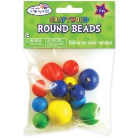 Craftwood Round Beads gekleurd  13 stuks 18mm-30mm  CW333