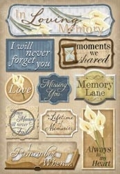 "In Loving Memory Cardstock Stickers 5.5""X9"