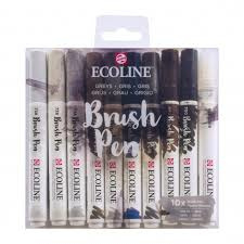 ecoline brush pen Greys set van 10 11509805
