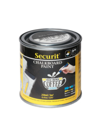 Securit® Chalkboard paint, 250ml. Water-based acrylic paint for use with chalkmarkers or traditional chalk. For glass, metal, ceramic, plastic and wood (recommended to use a primer for non-traditional wall surfaces  kleur zwart  82 00/0001  voldoende voor