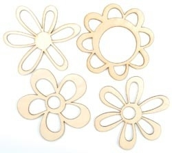 Wood Flourishes 4/Pkg retro flowers SB727
