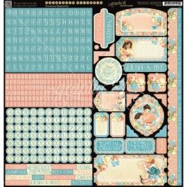 "Precious Memories Cardstock Stickers 12""X12"" sheet Tags en alphabet  G4501097"