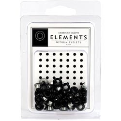 "Elements Medium Eyelets 3/16"" 48/Pkg black"
