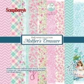 ScrapBerry's Mother's Treasure paperpad 15x15 cm, 24 enkel bedrukte vellen