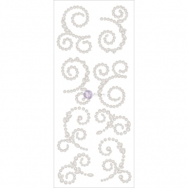 "Say It In Crystals Adhesive Swirls 7""X3"" Sheet Large/Pearl White  570378"