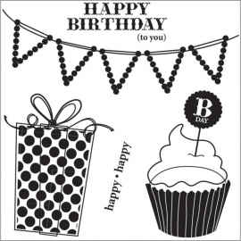 "I Cling Stamps 5""X5"" Sheet Happy Birthday To You"