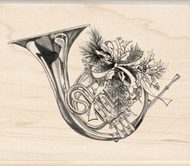 inkadinkado wood mounted rubber stamp french horn 60-00332