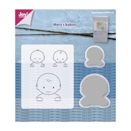 Joy!Crafts snij- embosstencil + stempel Mery's babies  Artikelnummer: 6004/0018