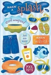 "Water Fun Cardstock Stickers 5.5""X9"