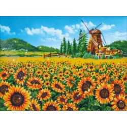 "NIEUW!!!!!!!Diamond Dotz Diamond Embroidery Facet Art Kit 33.5""X25.5"" Sunflower Windmill  DD13.016"
