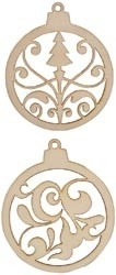 Wood Flourishes 2/Pkg Baubles #1 FL307