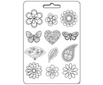 Stamperia Soft Maxi Mould Flowers, Hearts & Butterflies (K3PTA434)