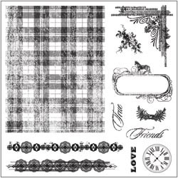 "Fiskars Background Clears Stamps 8""X8 Tartan `n Time  AKTIE!!!!!"
