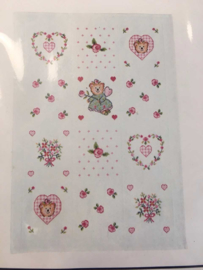DMC Babycounted cross borduurpakket  Afghan with little hearts and roses 92x62cm XB1160