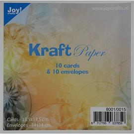 kraft papier 10 cards (13.5 x 13.5cm) & 10 envelopes (14x14cm) 8001/0015