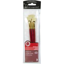 Royal & Langnickel Bristle RSET-9125 set van 3 waaier penselen voor acryl en olieverf