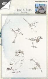 6410/0431 Clear stempel - Vogels d.m.v. lijnen trekken