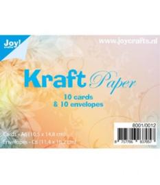 kraft papier  10 cards (A6) & 10 envelopes (C6)  8001/0012