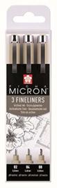 Pigma Micron PO(XSD-3) set 3 fineliners 0,3  0,4 en 0,5 mm