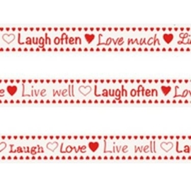 Tekst ribbon Laugh, love, live well